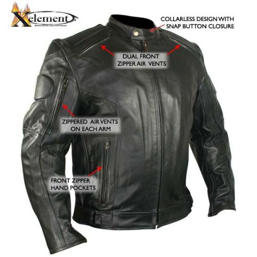 Mens Executioner Armored Black Racer Motorcycle Jacket